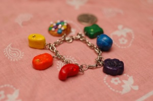 ANNNND my biggest charm project to date, the Candy Crush Saga charm bracelet. I think next time I shall make the charms a bit smaller since this is kinda bulky.
