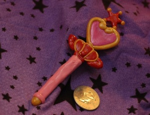 Chibimoon's Pink Moon Stick. It came out pretty well, except for that star giving me so many issues.  Does anyone have any advice on shaping stars without a mold!? -_-