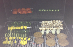 "Grillin and Chillin. This is how we BBQ. The burger lookin' things are veggies patties.  ""It's a keen-wa"" :P (Football fans might recognize that reference)"