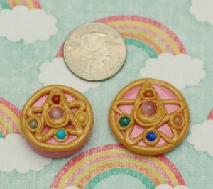 "I call this one the ""star brooch"". The one one the left is a chunkier version and the right more flat. They are necklace charms."
