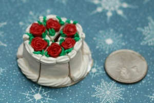 This is the full view of a Red Velvet Cake, and also my first attempt at making miniature roses! Woo!