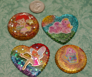Some bigger pieces. I still need to put embellishments on them. Any suggestions!? I have bows, hearts, stars, roses, and some other little dealies.