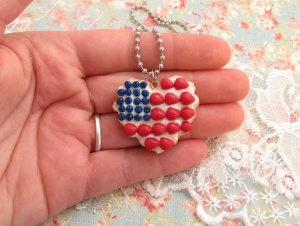 american flag cookie charm hand